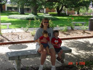 Amy, Ben and Jake during their first ever visit to Louisiana Tech - June 2006
