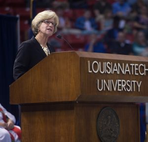 Summer Commencement speaker, Corre Stegall: Vice President for University Advancement, Retired  2015 Summer Commencement, Thomas Assembly Center, Thursday, 08-20-2015, (photo by Donny Crowe), Copyright:Louisiana Tech University.All Rights Reserved.(dcrowe@latech.edu) 318-257-4854
