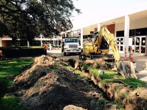Water line construction at Bookstore