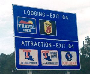 Tech exit signs for the Joe and Howard