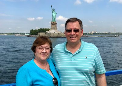 Les & Kathy with the Statue of Liberty