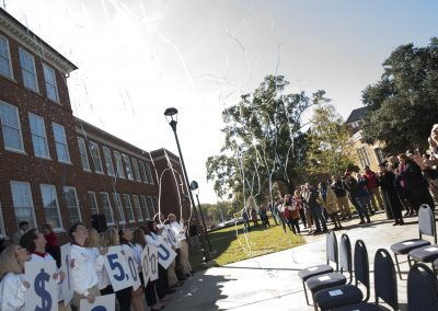 Confetti cannons surprised the crowd at our announcement Saturday.