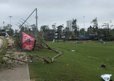 Debris near softball field